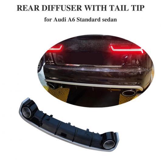 AL 車用外装パーツ リア バンパー ディフューザー 適用: アウディ A6 スタンダード エキゾースト チップ マフラー パイプ 2016 2017 2018 ブラック ・ シルバー・フルブラック AL-DD-8808