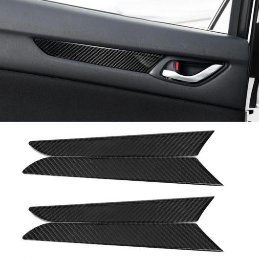 AL 車用内装パーツ 4個 リアル カーボンファイバー インサイド INドア ドア 装飾 ストリップ カバー トリム ステッカー 適用: マヅダ CX-5 2017-2018 AL-DD-8934
