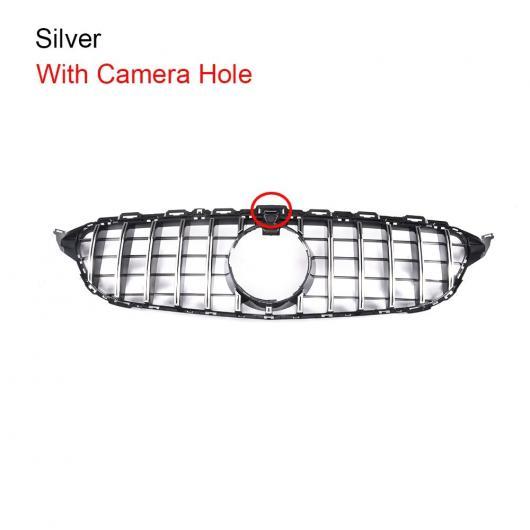 AL 車用外装パーツ ABS グリッド 適用: メルセデスベンツ W205 スポーツ C200 C250 C300 C350 クーペ 2ドア 2015-2018 フロント バンパー メッシュ グリル カメラ ホールド シルバー ・ ホール AL-DD-8471