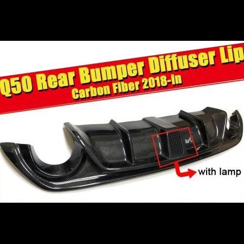 AL 車用外装パーツ 適用: インフィニティ Q50 リア バンパー リップ スポイラー ディフューザー カーボンファイバー LED ブレーキ ライト 2018 タイプ001 AL-EE-0108