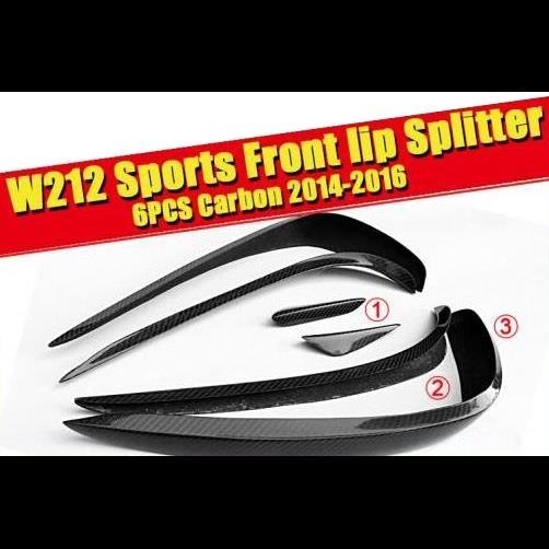 AL 車用外装パーツ 適用: ベンツ W212 フロント リップ スプリッター ウイング スポイラー カーボン 6個 Eクラス E200 E250 E400 E350 E500 E550 バンパー スプリッタ 2014-16 タイプ001 AL-EE-0181