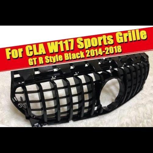 AL 車用外装パーツ W117 CLA GTS グリッド グリル ABS 光沢ブラック 適用: メルセデスベンツ CLA180 CLA200 250 CLA45AMG フロント バンパー グリル 14-18 タイプ001 AL-EE-0263