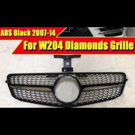 AL 車用外装パーツ 適用: メルセデスベンツ W204 サルーン クーペ C63 ダイヤモンドグリル Cクラス C180 C200 C250 C350 C400 グリル ABS ブラック 07-14 タイプ001 AL-EE-0290