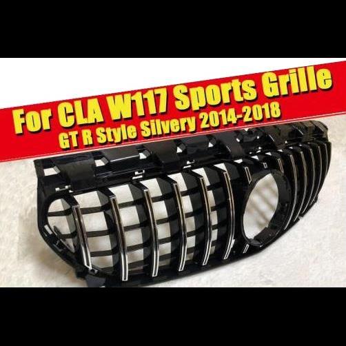 AL 車用外装パーツ CLA W117 スポーツ グリッド グリル GT R スタイル ABS シルバー クローム CLA180 CLA200 C250 CLA45 フロント バンパー グリル 14-18 タイプ001 AL-EE-0295