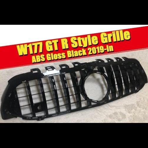 AL 車用外装パーツ W177 Aクラス A63 GTS グリッド グリル ABS 光沢ブラック スポーツ カメラホール A160 A180 A200 A250 フロント グリル 2019以降 タイプ001 AL-EE-0309