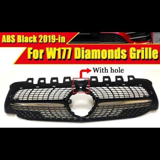 AL 車用外装パーツ W177 ダイヤモンドグリル スタイル カメラホール スポーツ フロント バンパー Aクラス A180 A200 A250 A45 ABS ブラック グリル 2019以降 タイプ001 AL-EE-0319