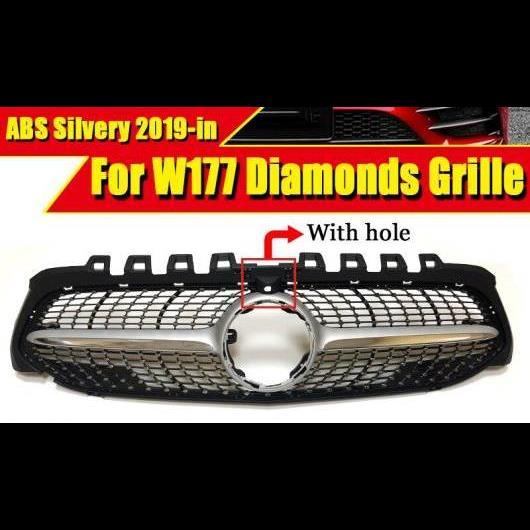 AL 車用外装パーツ ダイヤモンド スタイル グリッド ABS シルバー スポーツ カメラホール 適用: W177 Aクラス A180 A200 A250 A45 フロント バンパー 2019以降 タイプ001 AL-EE-0320