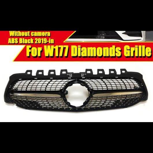 AL 車用外装パーツ 適用: メルセデスベンツ Aクラス W177 ダイヤモンド スタイル グリル カメラホールなし A180 200 250 ABS ブラック フロント バンパー 19+ タイプ001 AL-EE-0322