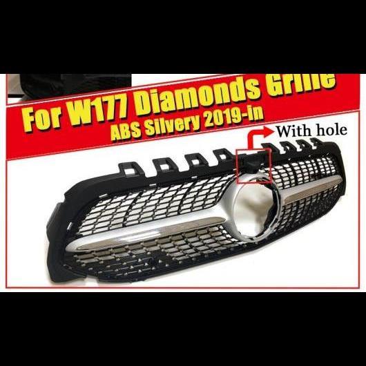 AL 車用外装パーツ 適用: Aクラス W177 ダイヤモンドグリル スタイル ABS シルバー A180 A200 A250 カメラホール スポーツ フロント バンパー グリッド 2019 タイプ001 AL-EE-0326