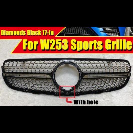 AL 車用外装パーツ 適用: メルセデス W253 C253 GLCクラス フロント グリル ダイヤモンド ブラック ABS シルバー スポーツ バンパー カメラホールなし 17 タイプ001 AL-EE-0345