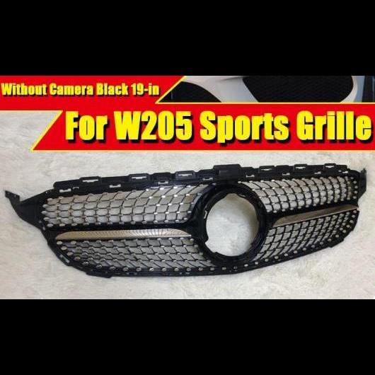 AL 車用外装パーツ 適用: メルセデス W205 C205 Cクラス スポーツ グリッド グリル ダイヤモンド スタイル カメラホールなし ABS 光沢ブラック 19 タイプ001 AL-EE-0372