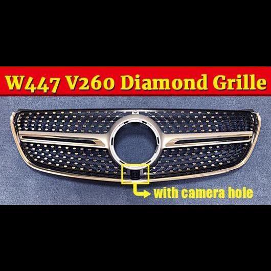 送料無料! AL 車部品 適用: メルセデス MB Vクラス W447 ヴィト パナメリカーナ フロント ダイヤモンド グリッド グリル ABS 光沢 シルバー W/カメラ V260 V250 V220 16-18 タイプ001 AL-EE-0837