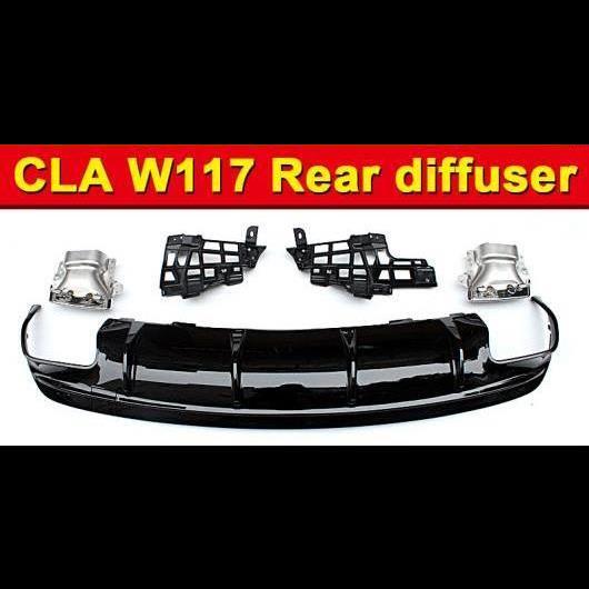 AL 車用外装パーツ 適用: メルセデス CLA W117 スポーツ リア バンパー ディフューザー 光沢ブラック + 4本出し 合金 エキゾースト チップ アドオン スタイル CLA45 16- タイプ001 AL-EE-0942