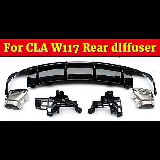AL 車用外装パーツ CLA-W117 リア バンパー ディフューザー エキゾースト ABS ブラック 適用: メルセデスベンツ CLA180 CLA200 250 スポーツ CLA45 17-18 タイプ001 AL-EE-0947