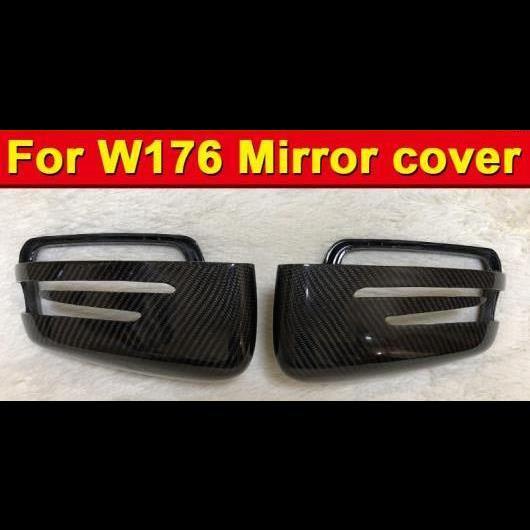 AL 車用外装パーツ 適用: メルセデス W176 ウイング ドア ミラー カバー カーボンファイバー ブラック 2PC Aクラス A180 A200 A250 A45AMG OEM-適合 13-16 タイプ001 AL-EE-0973