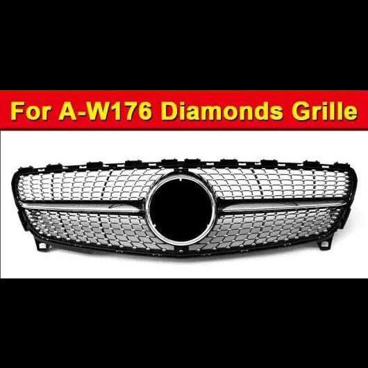 AL 車用外装パーツ 適用: メルセデスベンツ W176 ダイヤモンド グリッド グリル スポーツ A45AMG Aクラス A180 A200 A250 A260 フロント バンパー ABS ブラック 16-18 タイプ001 AL-EE-1006