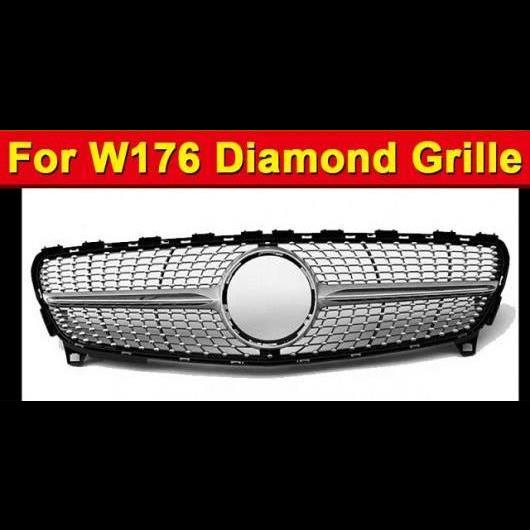 AL 車用外装パーツ 適用: メルセデスベンツ W176 ダイヤモンド グリッド グリル スポーツ A45AMG Aクラス A180 A200 A250 A260 フロント バンパー ABS シルバー 16-18 タイプ001 AL-EE-1010