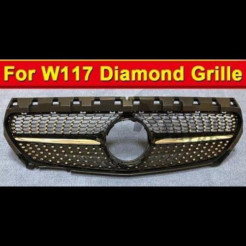 AL 車用外装パーツ W117 フロント グリル ダイヤモンド 適用: メルセデスベンツ CLA-W117 CLA180 CLA200 CLA250 CLA300 CLA350 ABS 材質 ブラック メッシュ 2014-18 タイプ001 AL-EE-1011