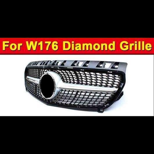 AL 車用外装パーツ 適用: メルセデスベンツ W176 ダイヤモンド グリッド グリル スポーツ A45AMG Aクラス A180 A200 A250 A260 フロント バンパー ABS シルバー 13-15 タイプ001 AL-EE-1013