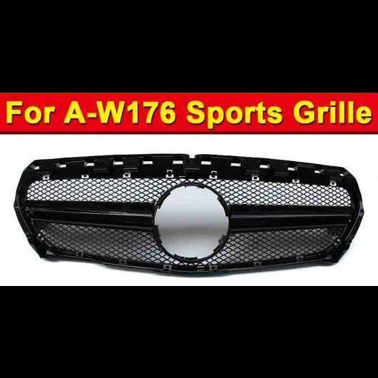 AL 車用外装パーツ 適用: メルセデスベンツ W176 スタイル グリッド グリル スポーツ Aクラス A180 A200 A250 A260 フロント バンパー ABS ブラック 2013-15 タイプ001 AL-EE-1015