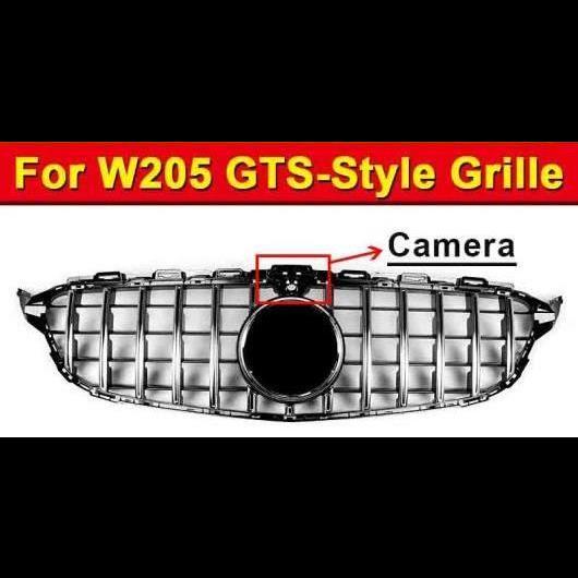 AL 車用外装パーツ W205 GTS スタイル ABS シルバー グリル 適用: W205 スポーツ C180 C200 C250 スポーツ カメラホール フロント グリッド 2015-18 タイプ001 AL-EE-1018