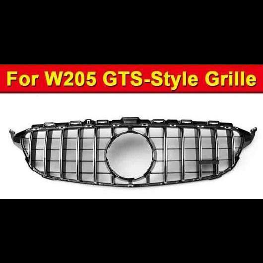 AL 車用外装パーツ W205 フロント グリッド GTS スタイル カメラホールなし ホール 適用: スポーツ C180 C200 C250 ABS シルバー バンパー メッシュ 2015-2018 タイプ001 AL-EE-1019
