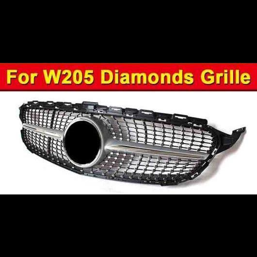 AL 車用外装パーツ W205 Cクラス グリル ダイヤモンド ABS シルバー メッシュ 適用: メルセデスベンツ スポーツ C180 C200 C250 フロント 2015-2018 タイプ001 AL-EE-1024