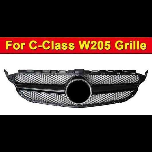 AL 車用外装パーツ W205 グリル フロント ABS 光沢ブラック 適用: メルセデスベンツ Cクラス スポーツ C180 C200 C250 バンパー メッシュ 2015-18 タイプ001 AL-EE-1026
