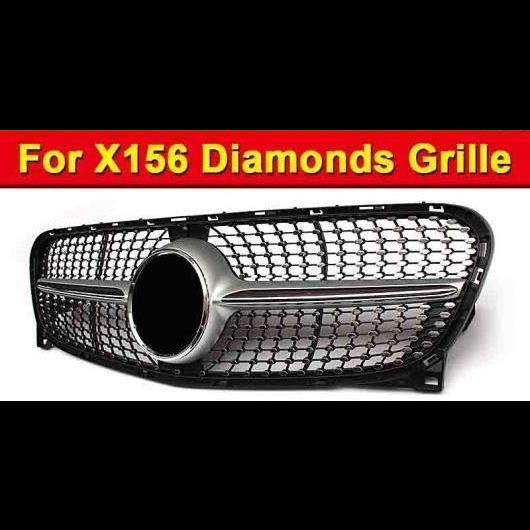 AL 車用外装パーツ ダイヤモンド グリッド グリル ABS シルバー X156 GLA180 GLA200 GLA250 GLAクラス 適用: メルセデスベンツ GLA45 メッシュ 2014-16 タイプ001 AL-EE-1028