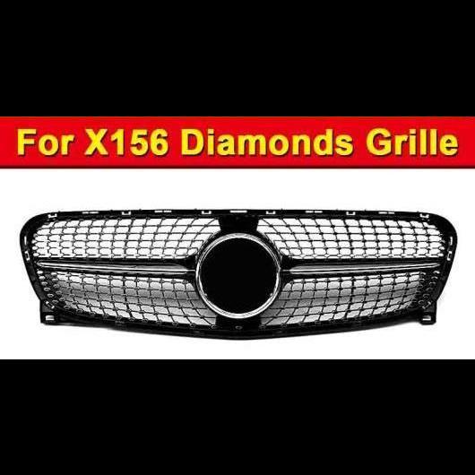 AL 車用外装パーツ 適用: メルセデス X156 GLA スポーツ グリッド グリル ABS 光沢ブラック +ツー フィン クロム GLA180 GLA200 250 GLA45 グリル 14-16 タイプ001 AL-EE-1031