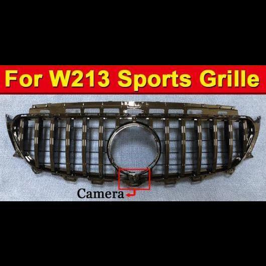AL 車用外装パーツ 適用: ベンツ W213 スポーツ グリッド グリル GTS スタイル ABS 光沢ブラック カメラホール W/バッジ Eクラス E200 E250 E350 E400 E500 16- タイプ001 AL-EE-1040