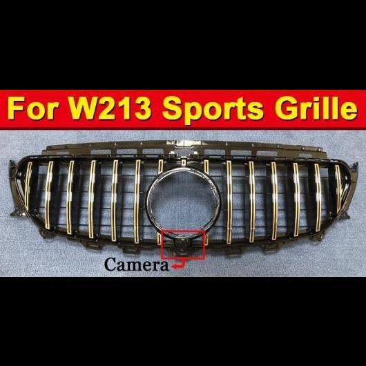AL 車用外装パーツ Eクラス W213 スポーツ GT R スタイル グリッド グリル ABS シルバー カメラホール W/バッジ 適用: メルセデス E200 E250 E350 E400 E500 16+ タイプ001 AL-EE-1041