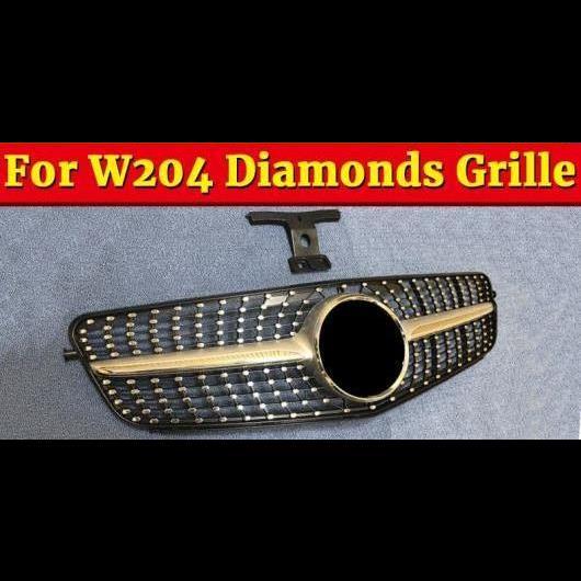 AL 車用外装パーツ W204 Cクラス スポーツ グリッド グリル ダイヤモンド ABS シルバー C180 C200 C250 C63 フロント ボーダー 07-14 除外: C63AMG タイプ001 AL-EE-1050