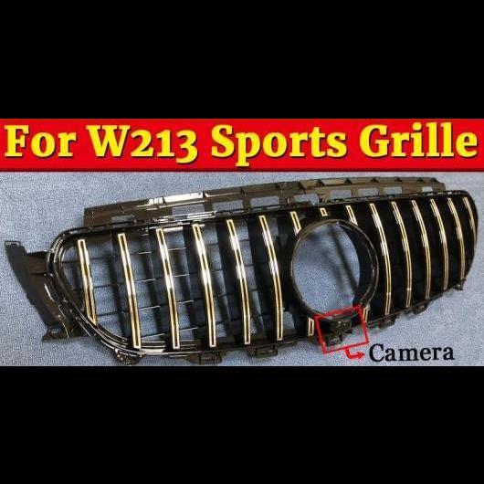 AL 車用外装パーツ W213 スポーツ GTS スタイル グリッド グリル ABS シルバー カメラホール Eクラス E200 E250 E300 E350 E400 E500 グリル 2016-18 タイプ001 AL-EE-1051