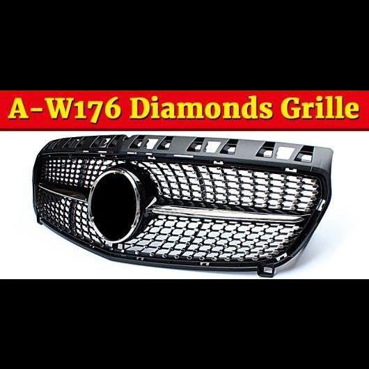 AL 車用外装パーツ W176 ダイヤモンド グリル ABS 光沢ブラック フロント バンパー グリル 適用: W176 Aクラス A180 A200 A250 A45 フロント グリル 13-15 タイプ001 AL-EE-1061