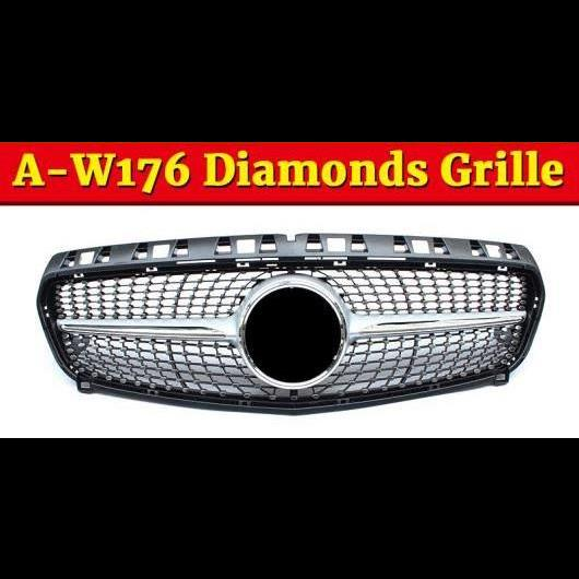 AL 車用外装パーツ 適用: メルセデスベンツ W176 ダイヤモンド グリル ABS シルバー Aクラス A180 A200 A250 A45 フロント バンパー グリル 2013-15 タイプ001 AL-EE-1067