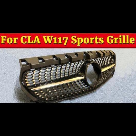 AL 車用外装パーツ 適用: メルセデスベンツ W117 ダイヤモンド フロント グリッド ABS ブラック CLAクラス CLA200 CLA250 CLA180 CLA45 スポーツ グリル 2014 タイプ001 AL-EE-1072