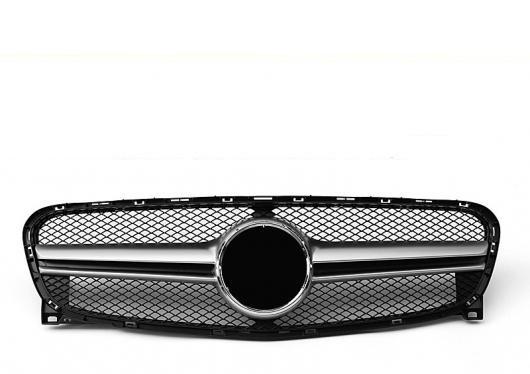 AL 車用外装パーツ GLA45 スタイル グリッド グリル X156 GLA45 ABS シルバー 適用: ベンツ GLAクラス GLA180 GLA200 フロント バンパー グリル 14-16 タイプ001 AL-EE-1047