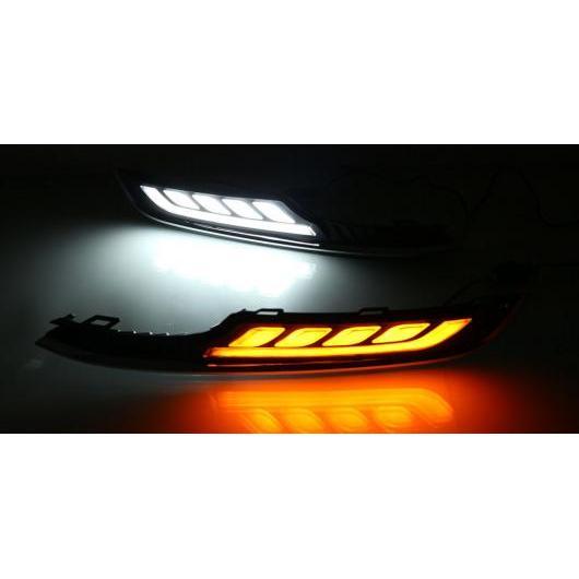 送料無料! AL 適用: VW フォルクスワーゲン ゴルフ 7 2013-2016 イエロー ターンシグナル LED DRL デイタイム ランニング ライト ABS 12V フォグランプ カバー ホワイト & オレンジ AL-EE-3866