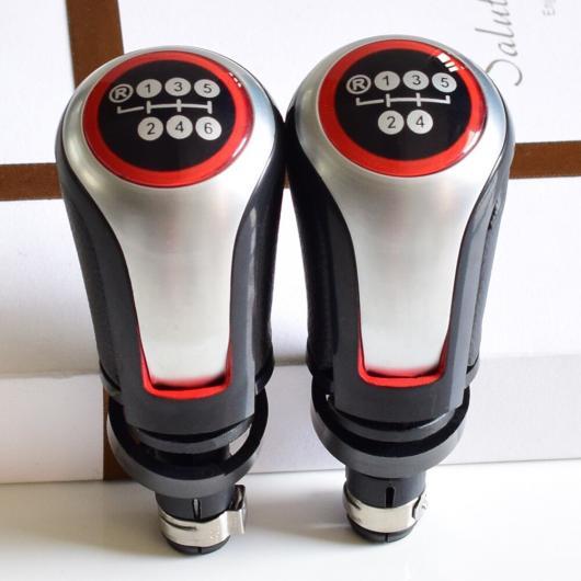 AL レッド パネル スタイリング 5/6速 ギア MT シフト ノブ シフター 適用: VW フォルクスワーゲン ゴルフ 5/ゴルフ 6/MK5/MK6/シロッコ 2009 5速・サークル~6速 マット シルバー AL-EE-3833