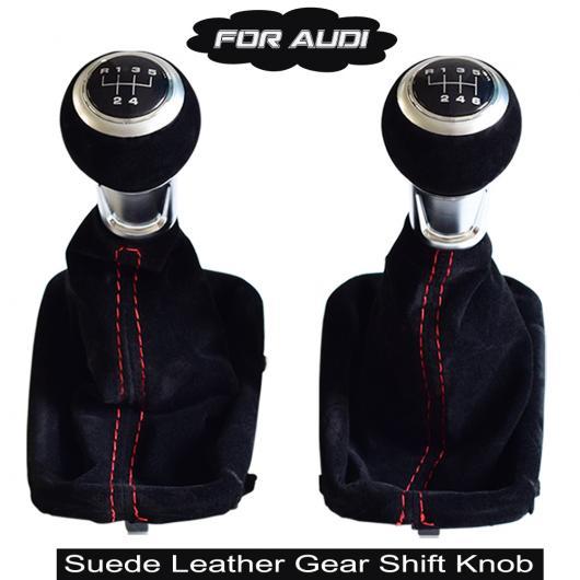 AL ギア シフター ノブ マニュアル スティック レバー スウェード レザー ブーツ カバー 適用: アウディ A3 S3 2001 2002 2003 5速・ブラック~6速・レッド AL-EE-3944