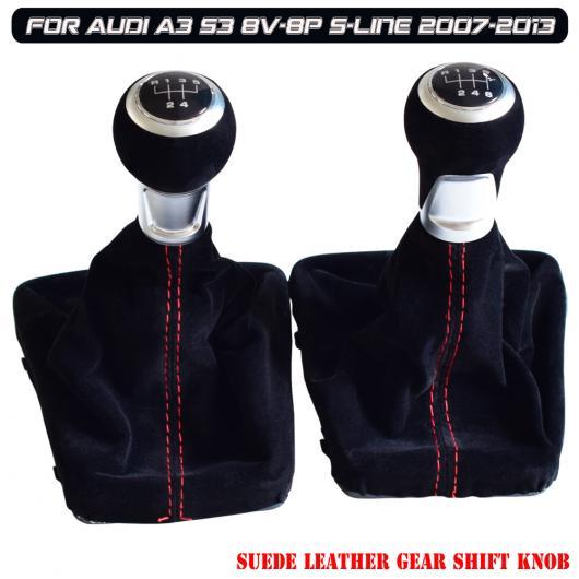 AL ブラック/レッド スウェード レザー ギア シフト ノブ 適用: 5/6速 アウディ A3 S3 8V-8P Sライン 2007-2013 5速・レザー・6速・レザー AL-EE-3949