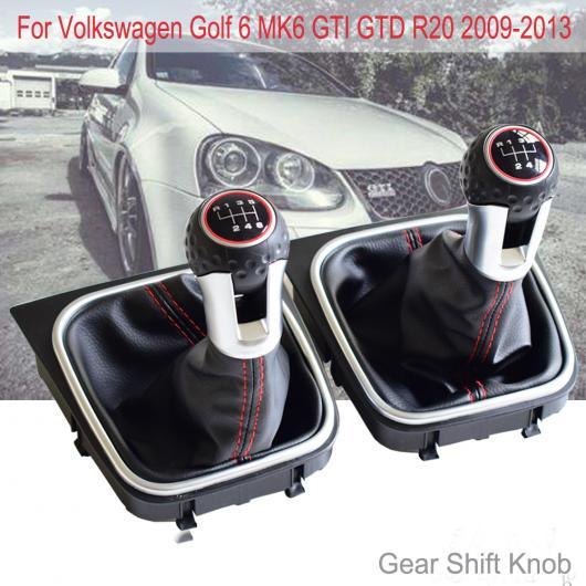 AL ギア シフター スティック レバー ノブ 5/6速 適用: フォルクスワーゲン ゴルフ 6 MK6 GTI GTD R20 2009-2013 ゲートル ブーツ レザー カバー 5速・6速 AL-EE-3988
