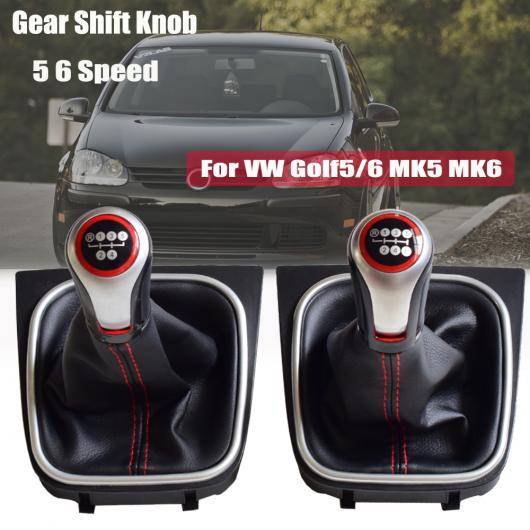 AL スタイリング ギア シフト ノブ レバー ゲートル ブーツ カバー 適用: VW フォルクスワーゲン ゴルフ 5/ゴルフ 6/MK5/MK6/シロッコ 2009 5速・ブーツ~6速・レッド AL-EE-4106
