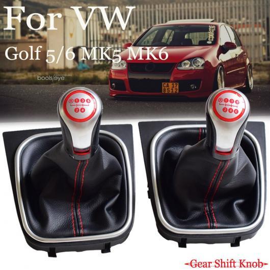 AL 5/6速 ギア MT シフト ノブ レバー ゲートル ブーツ カバー 適用: フォルクスワーゲン ゴルフ 5/ゴルフ 6/MK5/MK6/シロッコ 5速・ブーツ~6速・レッド AL-EE-4109