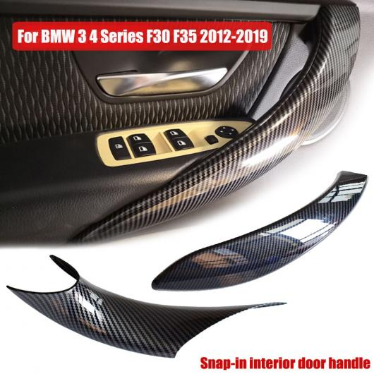 AL スナップイン インテリア ドア ハンドル 保護 トリム プル カーボン調 適用: BMW 3 4シリーズ F30 F31 F32 F33 F34 F35 F80 F82 カーボン・4個・アウター・ウォルナット・4個・アウター AL-EE-4173