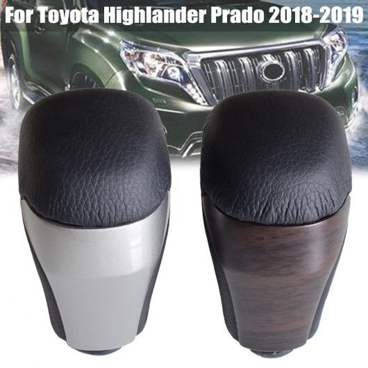 AL 自動車 ギア シフト ノブ スティック レバー 適用: トヨタ ハイランダー プラド 2018-2019 レザー ブラック・シルバー AL-EE-4266