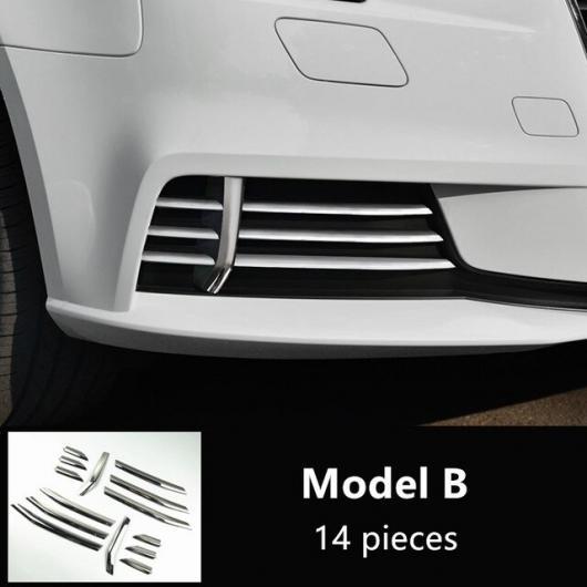 AL ステンレス スチール フロント フォグランプ グリッド 装飾 カバー トリム グリル グリッド デカール ストリップ 適用: アウディ A3 2017 2018 モールディング 14ピース AL-EE-4521