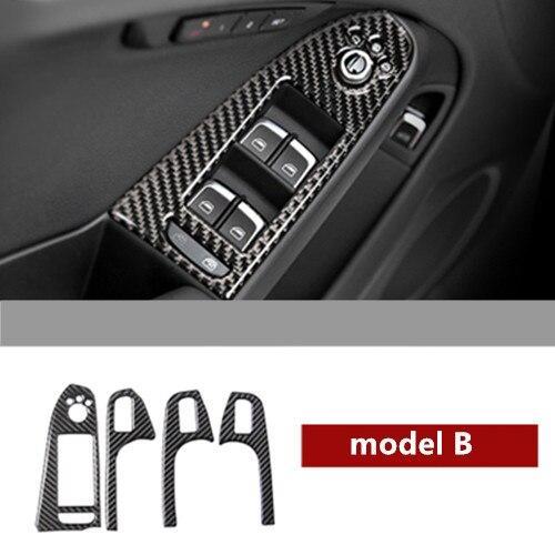 AL カーボンファイバー コンソール ナビゲーション フレーム CD パネル トリム 適用: アウディ A4 B8 ギア シフト 装飾 カバー ステッカー ドアアームレスト B AL-EE-4549