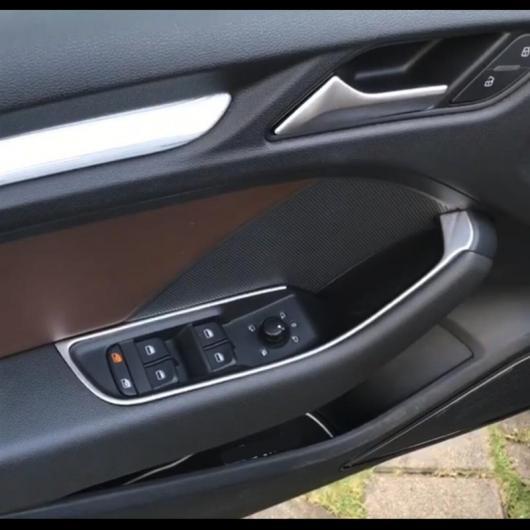 AL ステンレス スチール ドア アームレスト パネル 装飾 トリム 適用: アウディ A3 8V 2013-2019 ウインドウ リフター ボタン フレーム デカール ストリップ AL-EE-4537